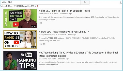 YouTube Search Result in English